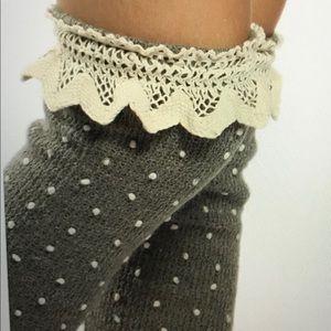 Pom Pom popcorn crochet top boot socks leg warmers